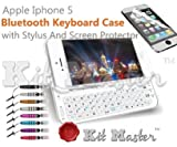 IPhone 5 KitMaster  rtroclair Clavier sans fil Bluetooth ultra-mince affaire Clavier QWERTY complet - blanc avec Gratuit Protecteur d'cran et stylet