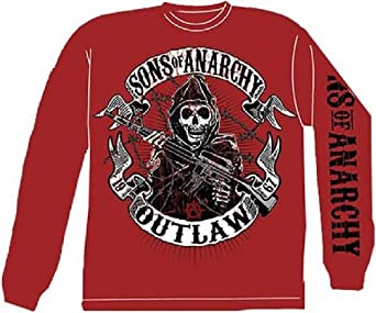 Sons Of Anarchy Outlaw Long Sleeve T-Shirt, Red, Large