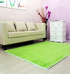 FADFAY Super Soft Area Rugs Modern Shag Green Carpet Living Room Carpet Bedroom Rug Washable Rugs Solid Home Decorator Floor Rug and Carpets 4- feet by 5- feet (green)