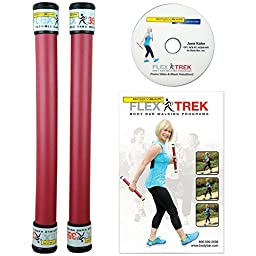 Flex Trek Body Bar Walking Program Fitness Kit With Hand Weights And DVD