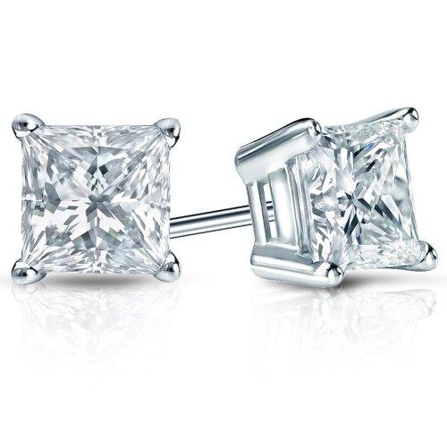 Parikhs Princess Cut Diamond Stud Popular Quality In 14K White Gold (0.25 Ctw, I-J Color, I1 Clarity)