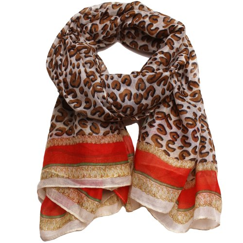 Aria Animal Leopard Print Chain Link Scarf By Bucasi
