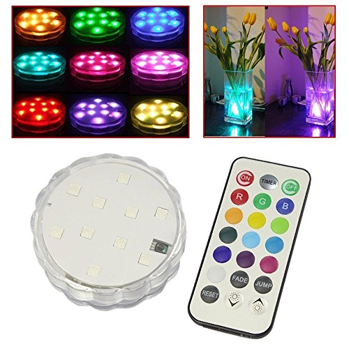Soondar 10-LED RGB Submersible LED Light, Multi Color Waterproof Wedding Party Vase Base Floral Light (Led Floral Lights compare prices)