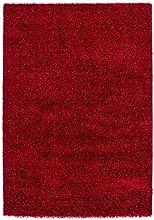 Lalee 347254781 Tapis shaggy avec lurex Rouge, Polyester, rouge, 120 x 170 cm