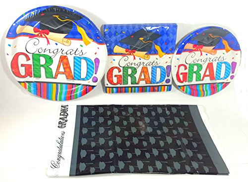 Graduation Party Supplies- Congrats Grad- Plates, Napkins, and Tablecover ( Serves 8 Guests)