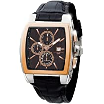 Jorg Gray JG6300-37 Rectangular Watch with Brown Italian Crocodile Leather Pattern with Deployment Butterfly Buckle