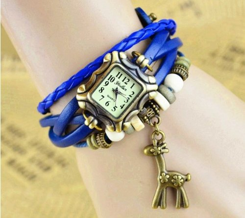 Kano Bak(Tm) Fashion Weave Wrap Around Press Button Leather Retro Bracelet Woman Girl Unisex Deer Pendant Wrist Nice Gift Watch Blue