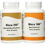 Maca 360 - 750mg 50 capsules Peruvian Maca Root Extract 20:1 and 750mg 50 capsules Gelatinized Maca Root Powder