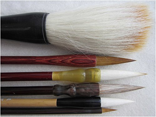 LeBeila Chinese Calligraphy Brush Set 6 Kanji Brush Pens/Sumi Drawing Brushes with One Wood Holder Rack, Professional Calligraphy Kit Small to Large (6 Brushes) (Calligraphy Kit Wood compare prices)