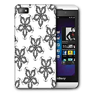Snoogg Grey Floral Printed Protective Phone Back Case Cover For Blackberry Z10