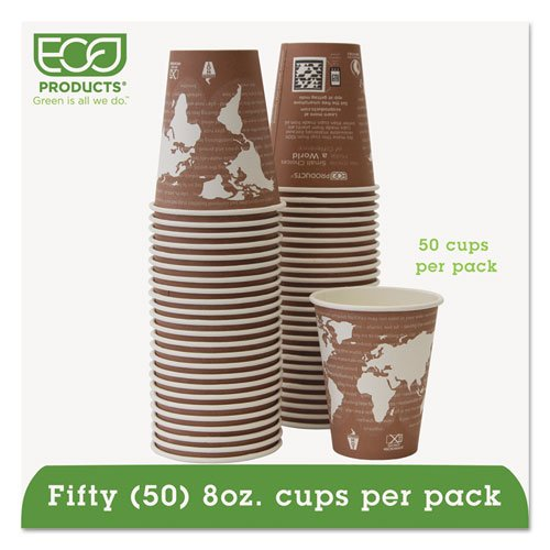Eco-Products - World Art Renewable Resource Compostable Hot Drink Cups, 8oz, Plum, 50/Pack EPBHC8WAPK (DMi PK