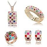 Dreamslink Fashion Jewellery Sets 18K Rose Gold Plated Swarovski Elements Multicolor Austria crystal Luxury Modern Queen Necklace, Earrings, Bracelets,Rings87230