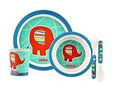 Nuby ID5498BLUE - Set alimentaci�n con 1 plato, 1 bowl, 1 vaso, 1 tenedor y 1 cuchara, color azul