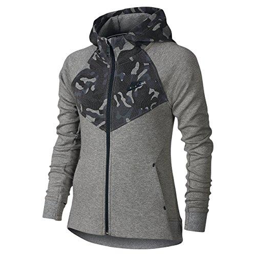 Nike Big Girls' (7-16) Tech Fleece Windrunner Full Zip Hoodie (X-Small, Carbon Heather/Black)