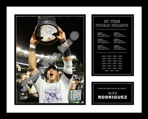 All About Autographs AAA-51274 Alex Rodriguez New York Yankees Framed Photograph 2009 World Series Trophy Milestone