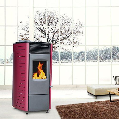 Outsunny - Stufa a pellet canalizzata con telecomando 7,1KW riscaldamento per casa con display LED