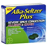 Alka-Seltzer Severe Sinus Congestion, Allergy & Cough Formula, Liquid Filled Capsules. 20 liquid gels