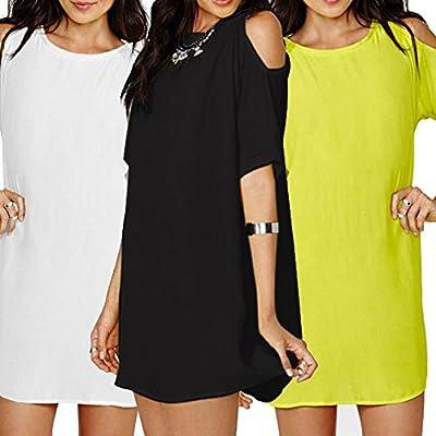 Tenflyer Fashion Women's Loose Chiffon T Shirt Tops Short Sleeve Dress Casual Blouse