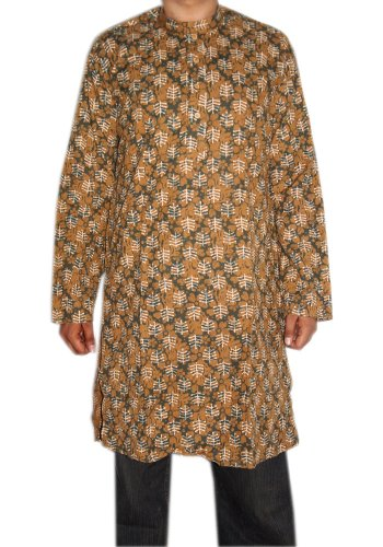 Indian Yoga Block Print Mens Casual Wear Cotton Long Mens Kurta SIZE XL