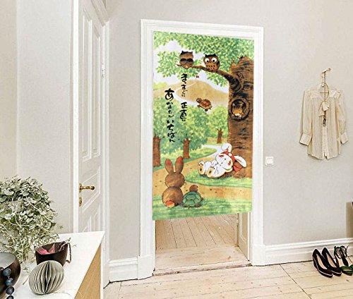 Doorway Decoration Noren Curtains Cartoon Turtle and Rabbit Pattern