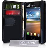 LG Optimus L5 E610 Tasche Optimus L5 Schwarz PU Leder Brieftasche Hülle