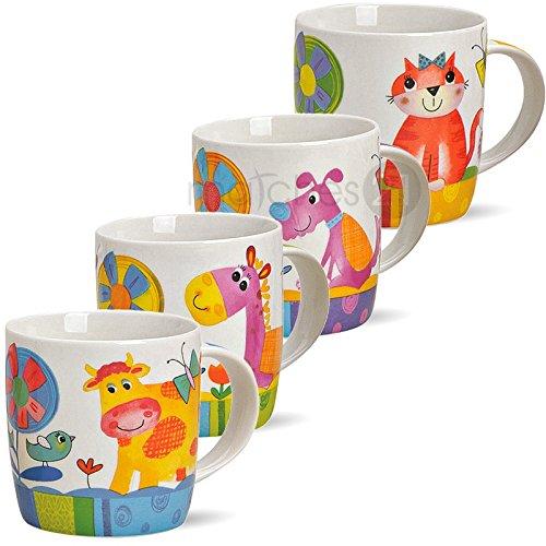Se-Kindertassen-Tassen-Becher-fr-Kinder-mit-lustigen-bunten-Tiermotiven-4er-Set-aus-Porzellan-gefertigt-je-9-cm-hoch-300-ml