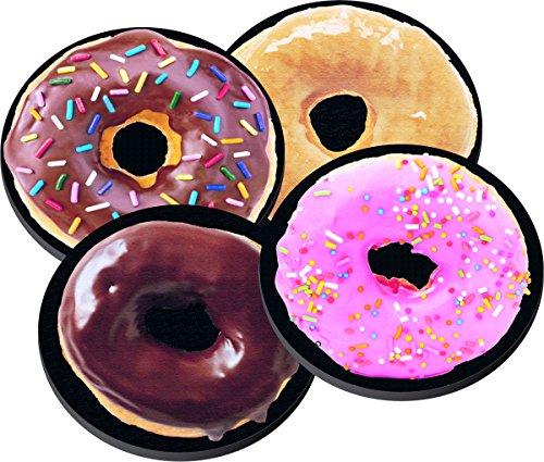donut-selection-on-neoprene-coaster-set-of-4-for-breakfast-snack-pastry