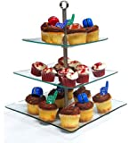 Square 3 Layer Glass Cake / Desert Stand Party Display