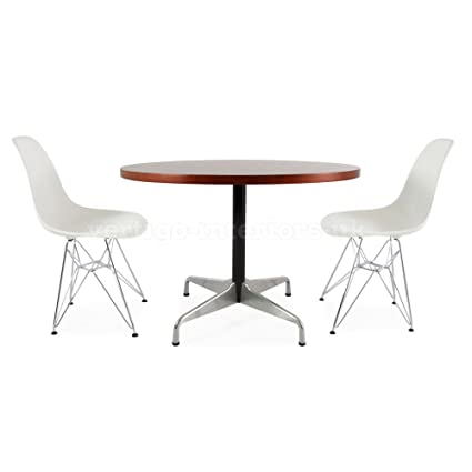 Beech Circular Eames Style Table & 2 DSR Chairs - Grey