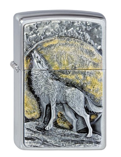 2.003.038 Feuerzeuge Wolf at Moonlight Emblem - Collection 2013 - chrom gebürstet