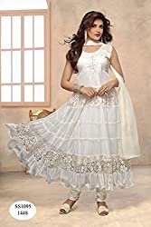 White Anarkali Semistitched Dress Material