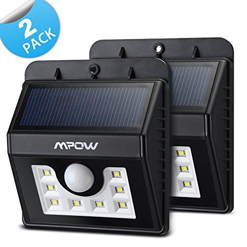 Mpow Luci Solari Lampada Wireless ad Energia Solare da Esterno con Sensore di Movimento, con 8 Lampadine LED, per Parete / Giardino / Cortile / Scale / Muro, con Funzione di Dusk to Dawn Dark Sensing Auto On / Off [2 Pezzi]
