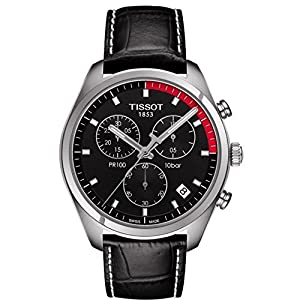 Tissot Men's Watch, Black On Stainless-Steel With Black Leather Band