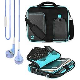 VanGoddy Pindar Messenger Carrying Bag for Fujitsu Stylistic 10.1-inch Windows Tablets + VanGoddy Headphones (Aqua)