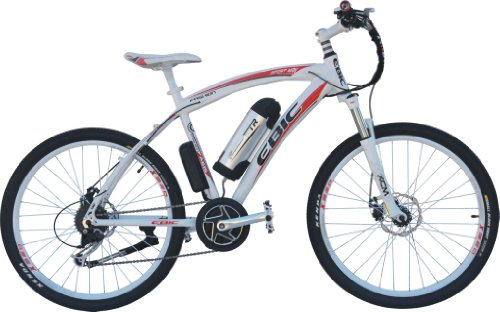 Anbike Ebic A362 Mid/Crank Motor Drive Assistant Electric Bicycle, Shimano 9 Speed, Front & Rear Disc Brake, Suntour Shock-Absorbing Front Fork, White/Red, Black/Blue