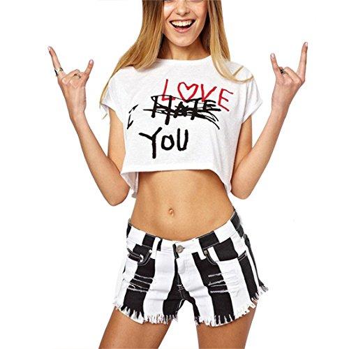 Bellezza Donna T-shirt Camicia Maniche Corte Lettere Stampate Maglietta Ragazza Corta Tops Estate