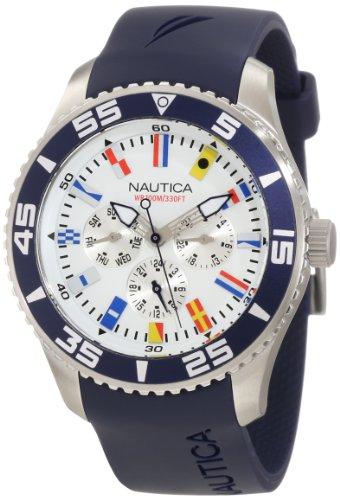 "Nautica Men's N12627G NST 07 ""Flags"" Stainless Steel Watch"