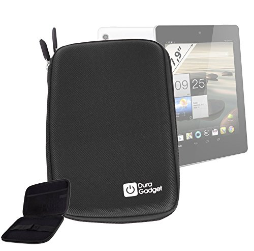 Duragadget Black Rigid Protective Zip Armoured Case With Soft Inner Lining & Netted Pocket For Acer Iconia A1-810-L416 7.9-Inch 16 Gb Tablet