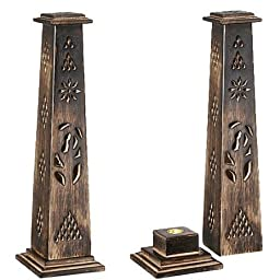 Wooden Artisan Decor Incense Stick Holder Tower Stand