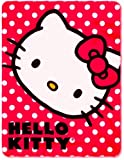 "Red Polka Dot ~ Hello Kitty Fleece Blanket Throw - 46"" X 60"""