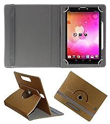 Acm Designer Rotating 360° Leather Flip Case For Vox V102 Tablet Stand Premium Cover Golden