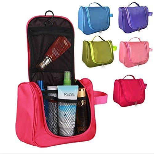 Waterproof Travel Cosmetic Pouch Makeup Toiletry Hanging Storage Bag Organiser (Pink)