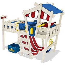 WICKEY Kinderbett CrAzY Hutty Hochbett Abenteuerbett inkl. Lattenboden - Rot-Blau + weiße Farbe