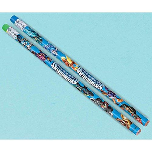 """Amscan Skylanders Pencils Birthday Party Favors (12 Pack), 7 3/8"""", Blue"""