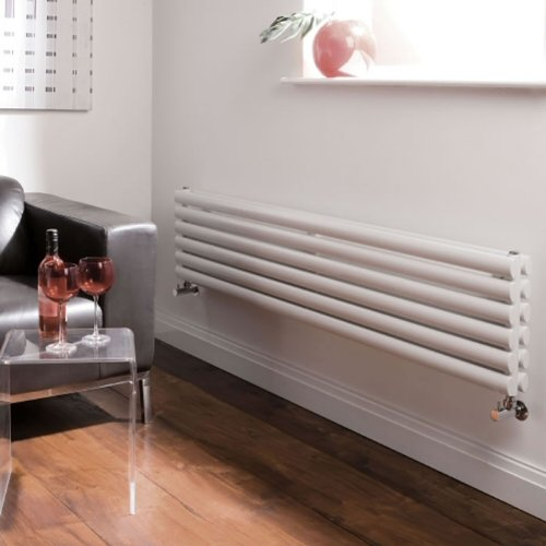 White Designer Double Radiator - Curved Panels - Luxury Central Heating Horizontal 'Oval' Columns - 354mm x 1600mm