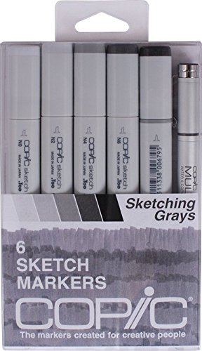 Copic Sketch Set of 6 Markers - Sketching Grays