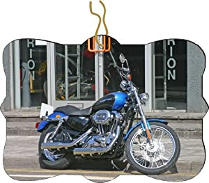 Rikki KnightTM Harley Davidson Blue Design Design Tree Ornament / Car Rear View Mirror Hanger
