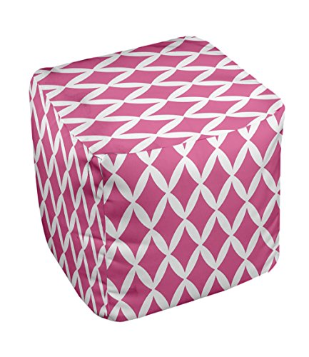 E by design FG-N1-Fushia-18 Geometric Pouf - 1