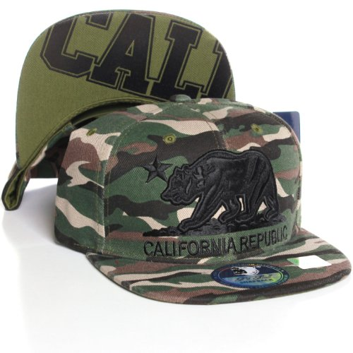 California Republic Flat Bill Visor Snapback Hat Cap - Multiple Colors (Camo Camo Blck) at Amazon.com