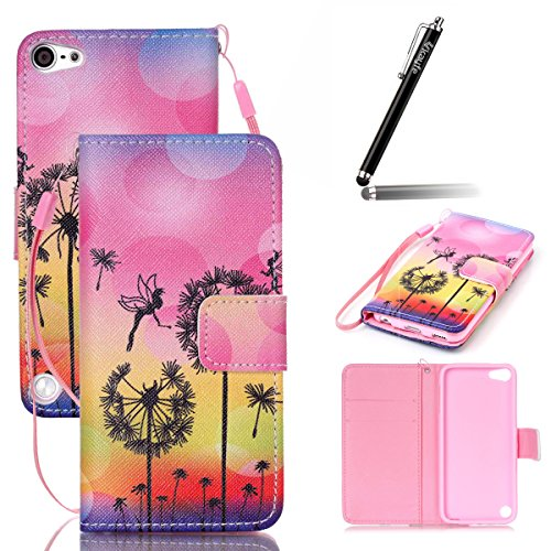 Coque iPod Touch 5 / 6, Coque Housse protection en cuir pour iPod Touch 5G / 6G, iPod Touch 5 Portefeuille Coque Housse Etui avec Longe, iPhone 6s /